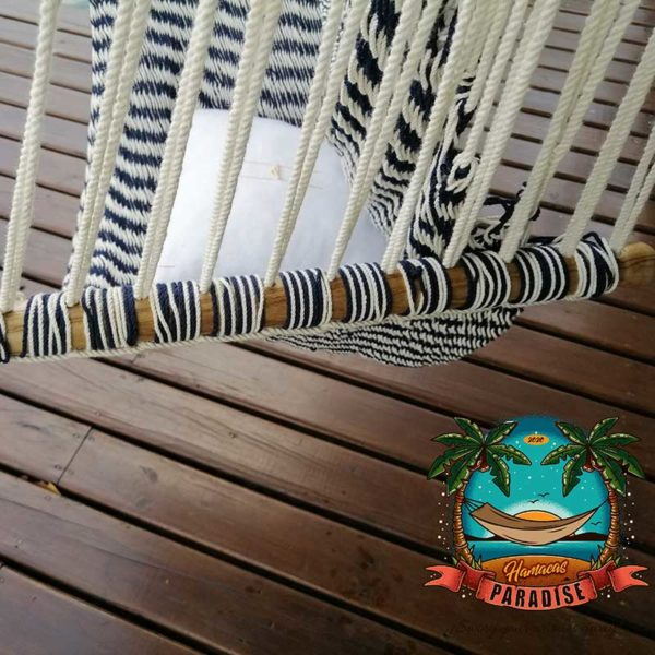 blue and white striped swing chair details