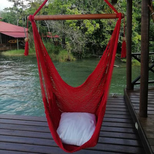 red swing chair