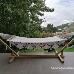 wooden base for hammock with white hammock