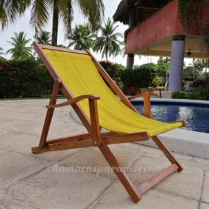 yellow wooden beach chair side view