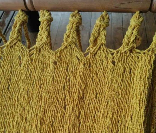 Tejido de algodón hamaca matrimonial lisa amarilla