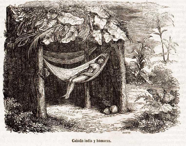 Mujer indígena en cabaña recostada en hamaca época de la conquista